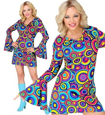 70er Jahre GROOVY GIRL HIPPIE KLEID DISCO FEVER DAMEN KOSTÜM  Flower Power #9929