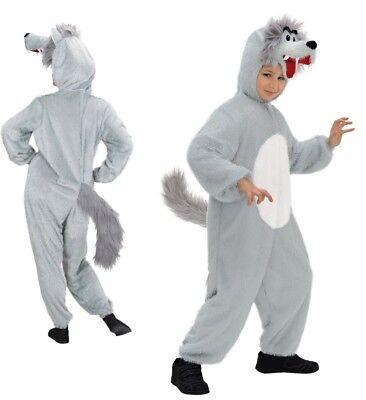 WOLF PLÜSCH KINDER KOSTÜM Gr. 134 cm 5-8 - Wolf Kind Kostüm