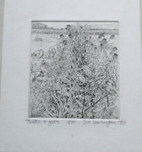A Vintage Quirky Sue Lewington 'Thistles and Goats' Limited Edition Etching 1980