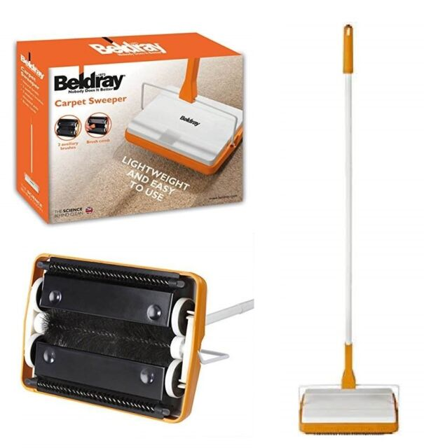 beldray manual carpet sweeper duster 3 brush cordless hard floor rug cleaner new - Carpet Sweeper