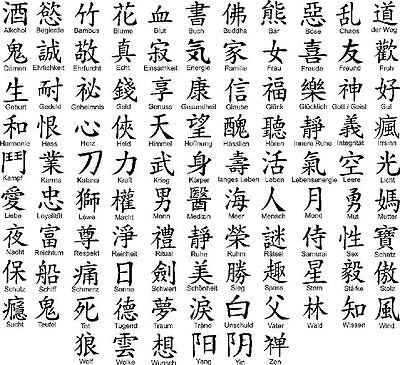 Chinesische Schriftzeichen, Aufkleber, Wandtattoo, Auto, 10cm