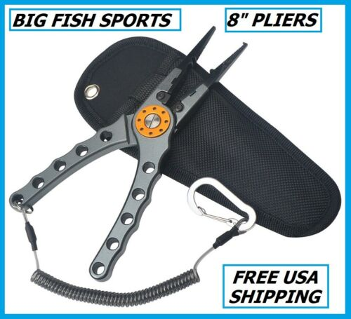 "BIG FISH Fishing Pliers Saltwater Aluminum Tool Hook Remover Braid Cutter 8"" NEW"