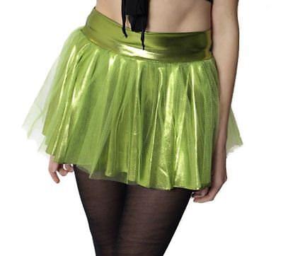 Womens Green Metallic Tinkerbell Tutu Costume Skirt Short Sexy Halloween S M L - Costume Tinkerbell