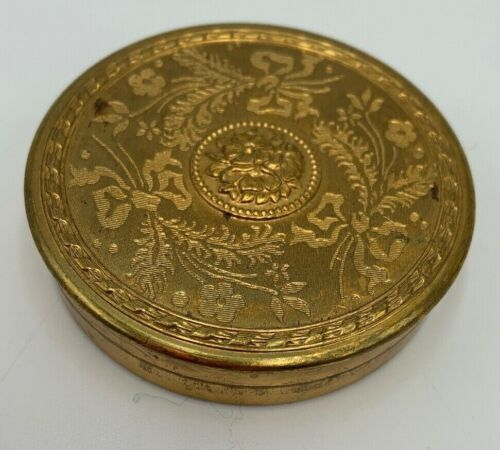 Embossed Powder Makeup Compact Vintage Gold Metal MCM