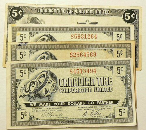 Canadian Tire 5 Cent Coupons Lot of 4  #5339