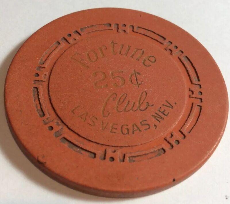 Fortune Club 25 Cent Casino Chip- Las Vegas- Used Condition