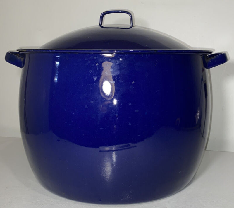 Antique Cobalt Blue Colombian Enameling and Stamping Co Canning Pot With Lid
