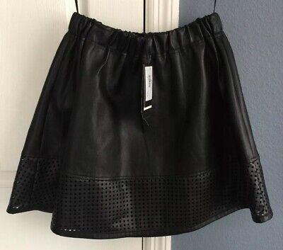 A/X Armani Exchange Black Faux Leather Mini Flare Skirt Elastic Waist Size 0