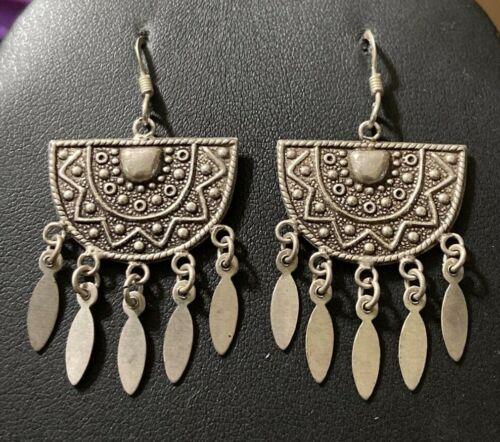 Vintage Art Deco Sterling Silver Chandelier Dangle Earrings