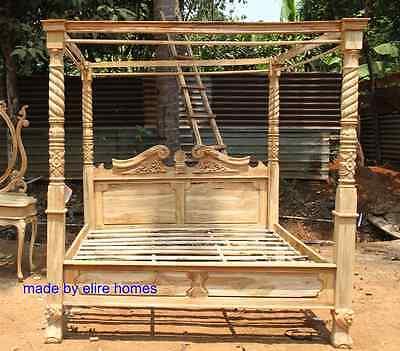 King Size Wood Poster (TEAK WOOD Super King size 6' Rustic finish Four poster canopy designer Bed  )