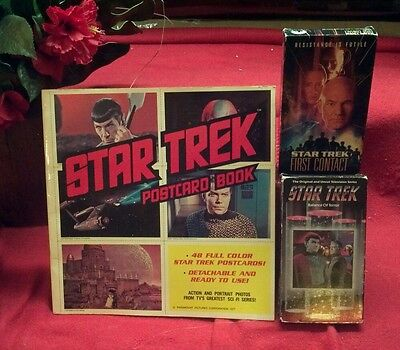 "Star Trek ""POSTCARD BOOK""/ 48 full colored Star Trek postcards!!!W/2 Videos!"