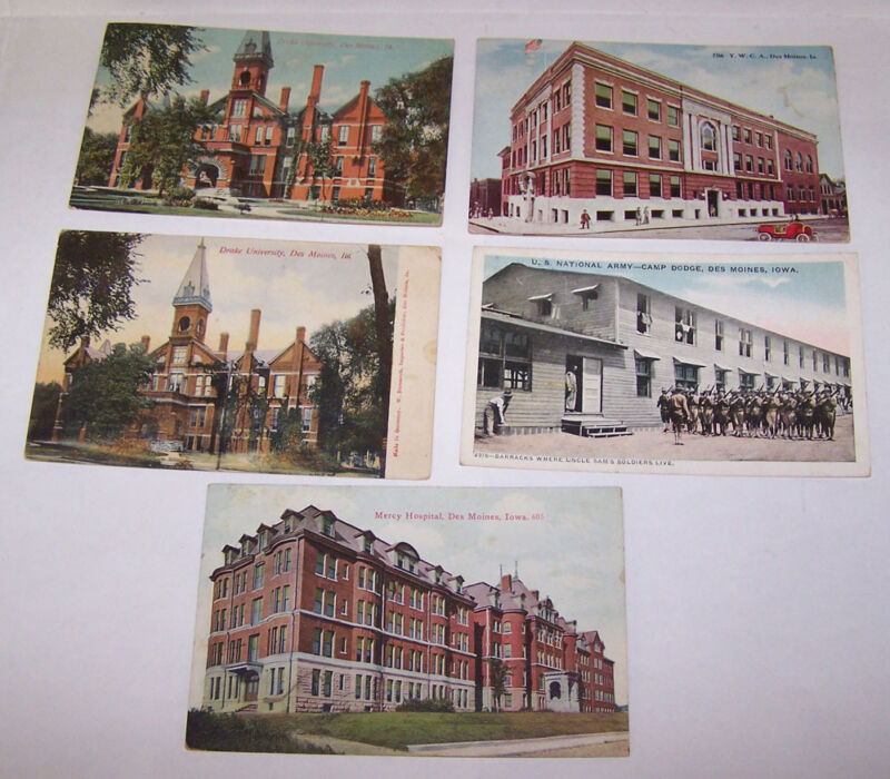5 Antique DES MOINES IOWA Postcards 1912-1920