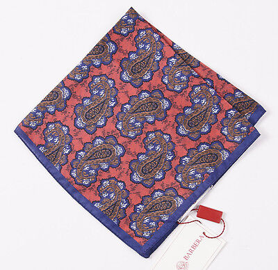 NWT $125 LUCIANO BARBERA Pink-Blue-Brown Paisley Print Silk Pocket Square