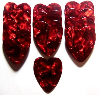 12pk Red Pearl Heart Shaped Guitar Picks .71mm Celluloid Medium gauge - Blank ()
