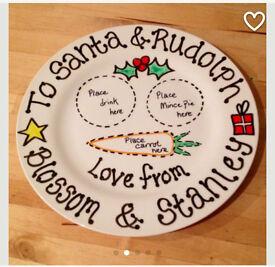 Handmade Personalised Christmas Plates to order Santa Rudolf Gift