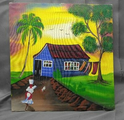 Vintage original Haitian Ethnic folk art painting Haiti , used for sale  Shipping to Canada