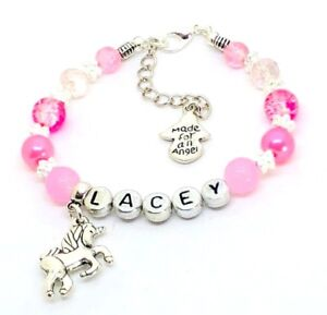 d04fddae8f3e Personalised Princess Pink girls Unicorn Crystal pearl Bracelet party Girly  gift