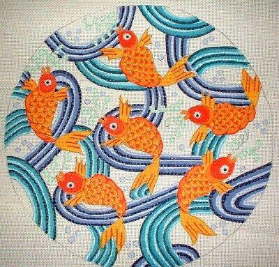 MZC Oriental Koi Fish Round Pillow Top HP Hand Painted Needlepoint Canvas Fish Needlepoint Pillow