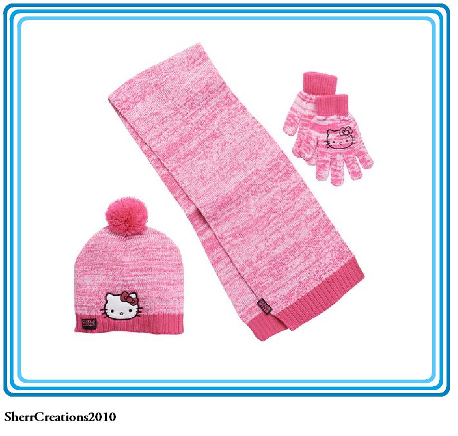 NWT Girl's Hello Kitty Pom-Pom Hat Scarf & Gloves Set Pink #17415-202