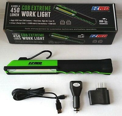 New EZ Red Extreme COB LED Rechargeable Work Light, 450 Lumens,GREEN #XL3300FL-G