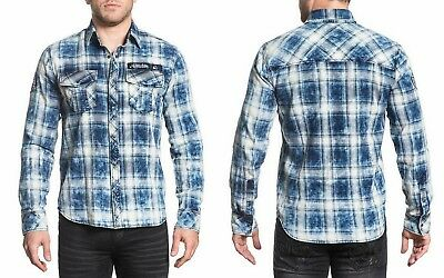Affliction Long Sleeve Shirt Pinnacle Peak Men's Woven Button Down, Blue Check - Woven Long Sleeve Button