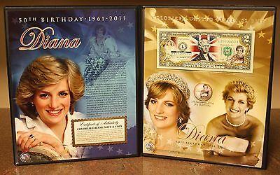 PRINCESS DIANA *50th Birthday* U.S. $2 Bill & Gold JFK Coin w/COLLECTIBLE FOLIO