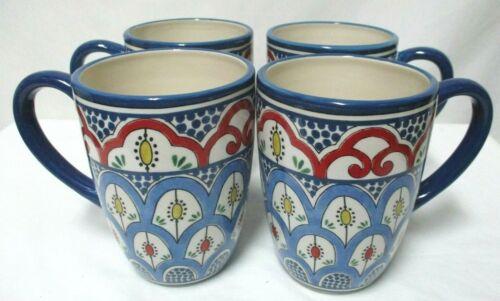 Certified International Tangier Set 4 Mugs Cups RARE blue red Earthenware