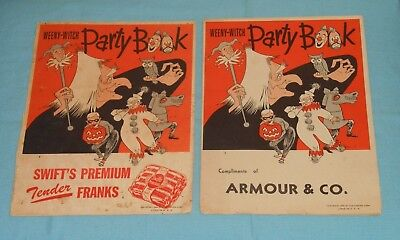 vintage Halloween WEENY-WITCH PARTY BOOK LOT x2 Armour & Swift's Premium Franks