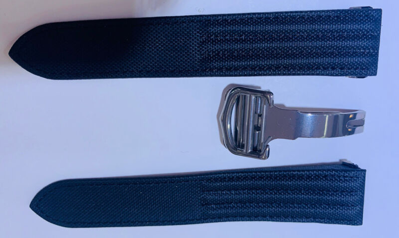 Black Cartier Roadster Strap with Stainless Steel buckle 17mm