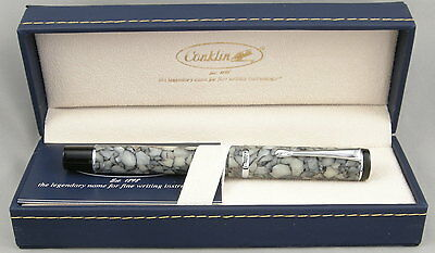 Conklin Duragraph Cracked Ice & Chrome Fountain Pen - Fine Nib - NEW!
