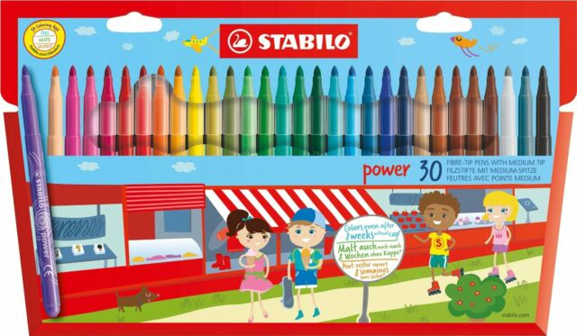 Stabilo Power Fibre Felt Tip Pens - Wallet of 30 Assorted Colours