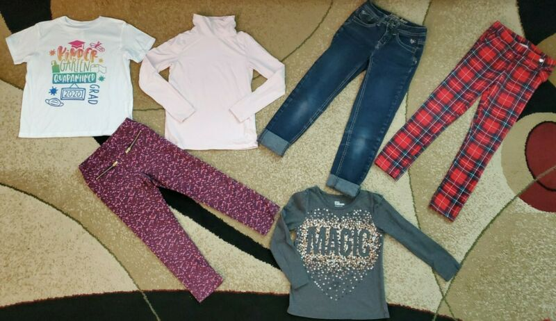 Lot Of 6 Girls Pants Leggings Jeans Turtleneck Justice H&m Epic Threads 6-8 Y.o.