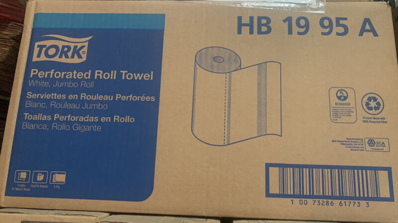 """HB1995A Jumbo Roll Perforated Paper Roll Towel, 2-Ply, 11"""" W 9"""" Length White"""