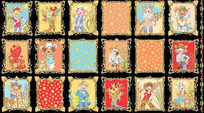 Loralie Whoa Girl Cowgirl Western Lady Scene Blocks Cotton Fabric 24