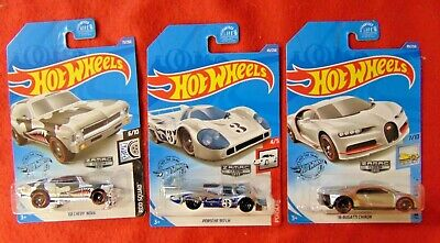 2020 Hot Wheels Walmart Exclusive Zamac  Lot Of 3pcs Bugatti Porsche Chevy