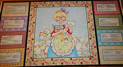 Mary Engelbreit Fabric Kitchen Capers Quilt Panel W/ Recipes Cotton Fabric