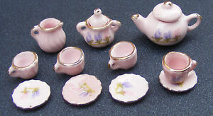 1-12-Scale-Ceramic-11-Piece-Pink-Dolls-House-Miniature-Tea-Set-Floral-Motif-R05