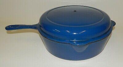 Vintage Cousances #27 Blue Enamel Cast Iron Deep Skillet Dutch Oven France