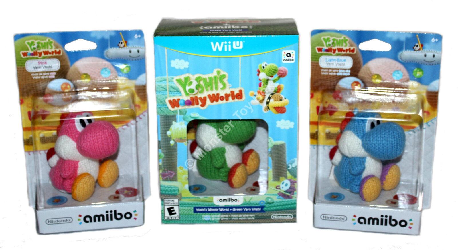Yoshi's Woolly World + Pink & Blue Yarn Yoshi Amiibo's Ni...