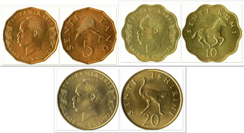Tanzania 5 & 10 & 20 Senti 3 Uncirculated Coin Set