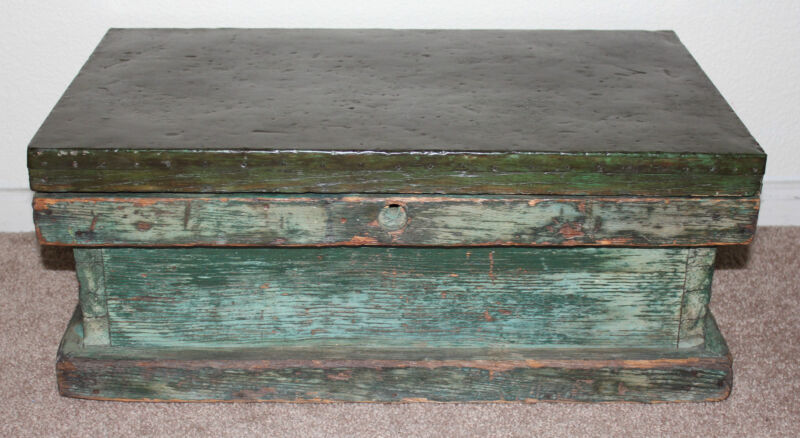 Antique Ships Carpenter Tool Chest Small Trunk Metal Top Inner Drawer ca1900s