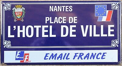 Large old blue French street road sign plaque plate enamel name Town Hall Nantes