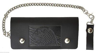 Leather Motorcycle Trucker Biker Chain Wallet With Inside Zipper Black Eagle!!!