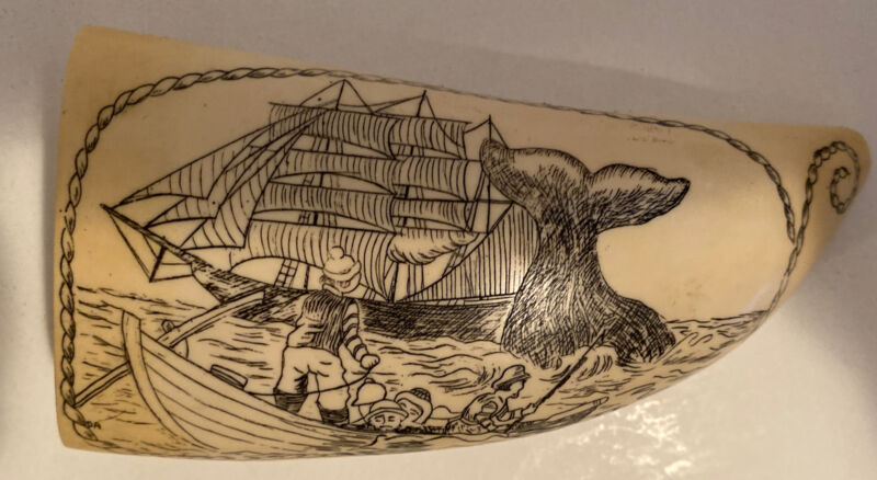 Scrimshaw Artek ~ Whale tooth Etched Ship, Whale, & Boat w/ People