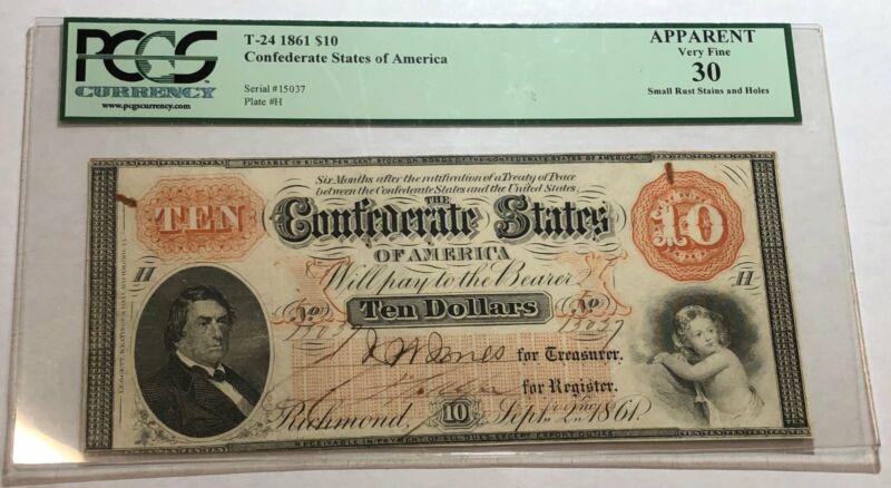 1861 $10 Confederate States of America T-24. PCGS VF30 apparent.  #udr