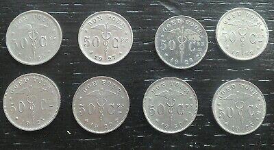 8 monnaies munten 50 cent ALBERT Ier Belgique Belgie Bonnetain 23,27,28,30,32,33
