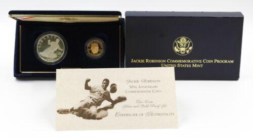 1997 Jackie Robinson 50th Anniversary Commemorative 2 Coin Set w/ Box & COA