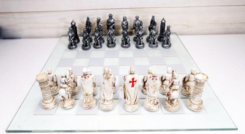 Ebros Crusader Christian Kingdom VS Ottoman Empire Chess Pieces Glass Board Set