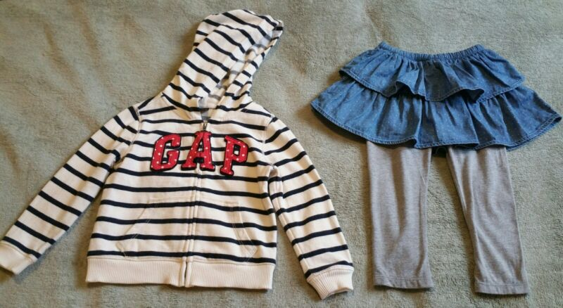 Slightly Used Baby Girl Gap Lot: Logo Hoodie 2t And  Legging-skirt Duo 18-24m