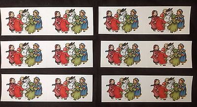 Gifted Line Stickers - Lot 6 Strips 1997 NEW Gifted Line Victorian Snowman Children Christmas Stickers